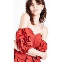 Cameo Rose Rust Ruche Sleeve Bardot Neck Top New Look