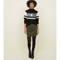 Khaki Denim Mini Skirt New Look