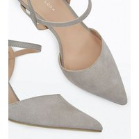 Grey  Suedette Ankle Strap Pointed Court Shoes New Look