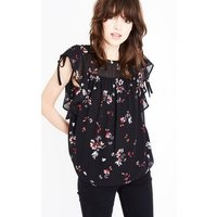 Black Floral Ruched Frill Trim Top New Look