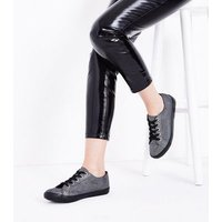 Wide Fit Pewter Metallic Lace Up Trainers New Look