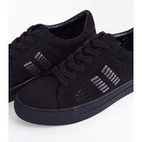 Black Suedette Cut Out Metallic Panel Trainers New Look