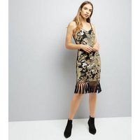 Parisian Black Sequin Flower Fringe Hem Dress New Look