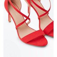 Red Suedette Strappy Stiletto Sandals New Look