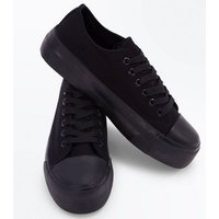 Black Chunky Sole Lace Up Trainers New Look