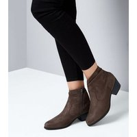 Brown Suedette Slouch Western Boots New Look