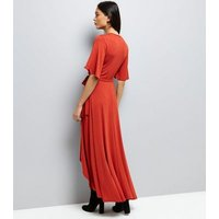 Rust Wrap Front Dip Hem Maxi Dress New Look