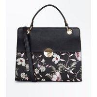 Black Floral Print Top Handle Bag New Look