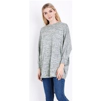 Pale Grey Brushed Batwing Sleeve Top New Look
