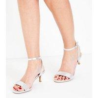 Wide Fit Silver Comfort Flex Diamante Strap Kitten Heels New Look