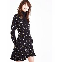 Black Ditsy Floral Frill Trim Wrap Dress New Look