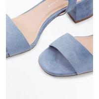 Girls Pale Blue Suedette Block Heel Sandals New Look