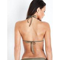 Khaki Moulded Triangle Bikini Top New Look