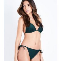 Teal Moulded Triangle Bikini Top New Look