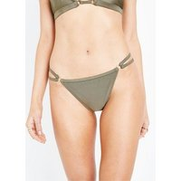 Khaki High Leg Strappy Side Bikini Bottoms New Look