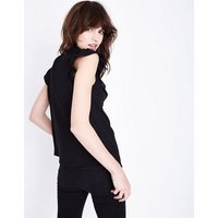 Black Chevron Frill Sleeveless Top New Look