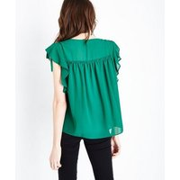Green Ruched Frill Trim Top New Look