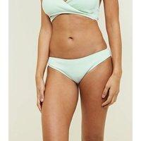 Mint Green Ribbed Bikini Bottoms New Look