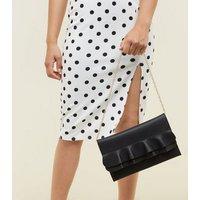 Black Frill Front Flat Clutch Bag New Look