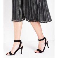 Black Suedette Circle Buckle Heeled Sandals New Look