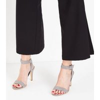 Grey Suedette Circle Buckle Heeled Sandals New Look