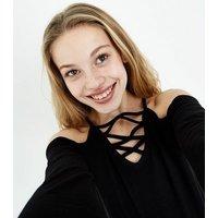 Teens Black Lattice Front Cold Shoulder Top New Look
