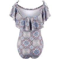 Blue Tile Print Bardot Neck Swimsuit New Look