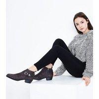 Teens Grey Suedette Buckle Trim Boots New Look