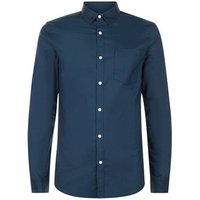 Mens Navy Muscle Fit Stretch Oxford Shirt New Look