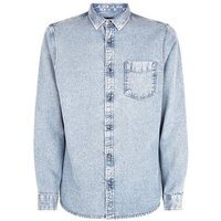 Blue Acid Wash Denim Shirt New Look