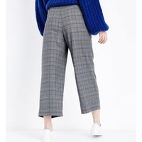 Grey Check Paperbag Cropped Trousers New Look