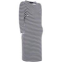 Maternity Blue Stripe 3/4 Sleeve Tunic Dress New Look