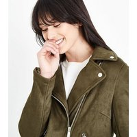 Khaki Suedette Biker Jacket New Look
