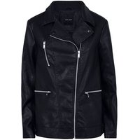 Black Leather-Look Longline Biker Jacket New Look