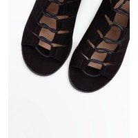 Black Suedette Low Block Heel Ghillie Sandals New Look