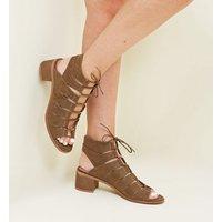 Khaki Suedette Low Block Heel Ghillie Sandals New Look