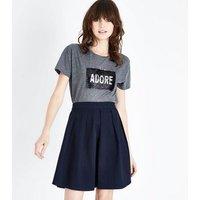 JDY Navy Pleated A-Line Skirt New Look
