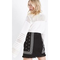 Petite Black Folk Embroidered Pom Pom Mini Skirt New Look