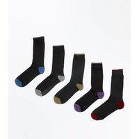 5 Pack Black Contrast Socks New Look