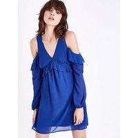 Blue Frill Trim Cold Shoulder Dress New Look