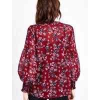 Tall Red Floral Shirred Tassel Tie Neck Blouse New Look