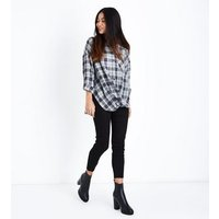 Petite Black Check Twist Hem Shirt New Look