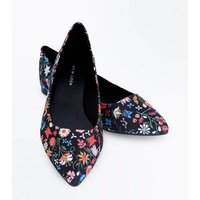 Black Textile Floral Print Pointed Pumps New Look