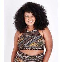 Curves Black Neon Aztec Pattern Pom Pom High Neck Bikini Top New Look