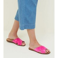 Wide Fit Bright Pink Suede Cross Strap Sliders New Look