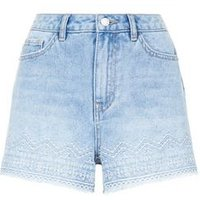 Blue Aztec Embroidered High Waist Denim Shorts New Look