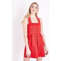 Red Bandage Skater Dress New Look