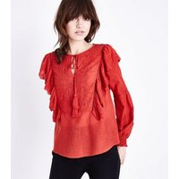 Red Embroidered Frill Trim Tassel Tie Blouse New Look