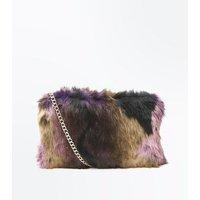 Burgundy Faux Fur Cross Body Bag New Look
