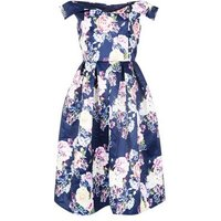 Mela Navy Floral Print Bardot Neck Dress New Look